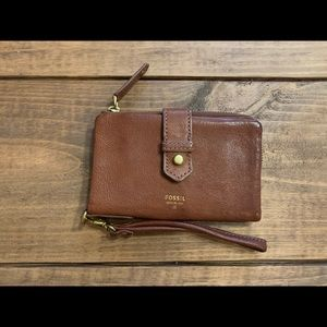 Fossil brown leather wristlet